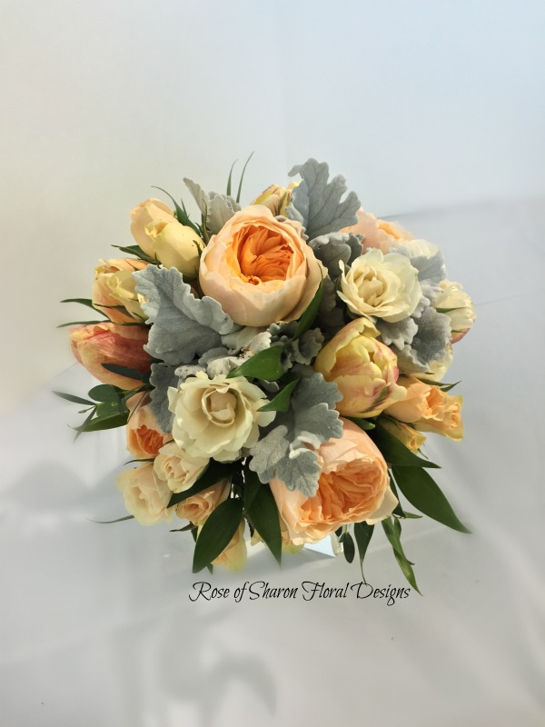 Hand-Tied Bouquet with Roses and Dusty Miller, Rose of Sharon Floral Designs