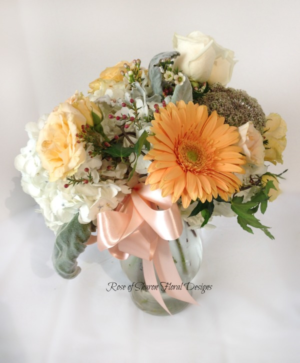 Bouquet featuring Roses and Gerbera Daisies, Rose of Sharon Floral Designs