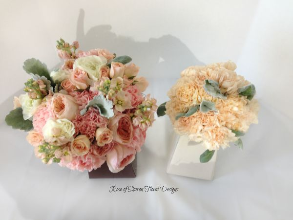 Hand-Tied Bouquets featuring Roses, Carnations and Dusty Miller, Rose of Sharon Floral Designs