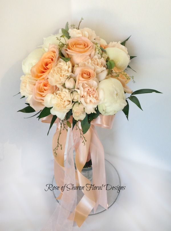 Hand-tied Bouquet featuring Roses, Peonies, and Carnations, Rose of Sharon Floral Designs