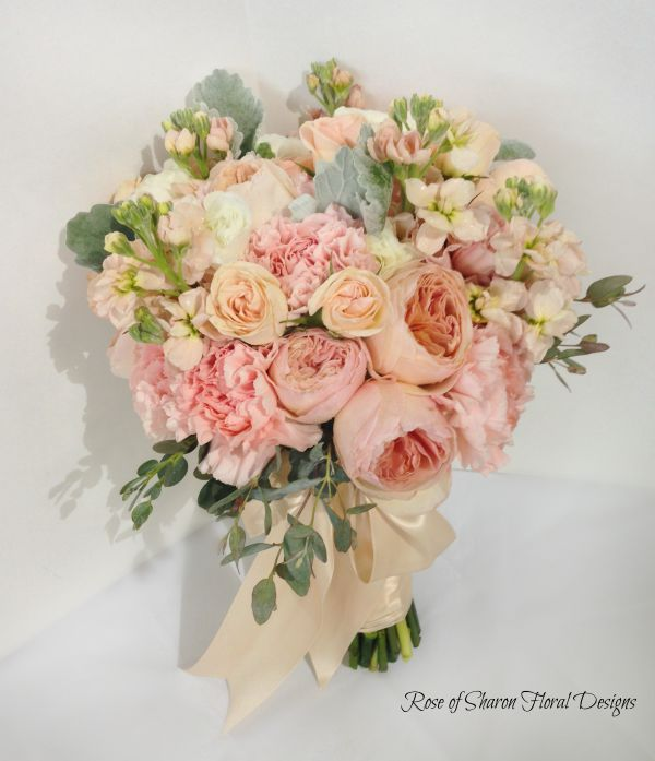 Hand-Tied Bouquet featuring Roses and Carnations, Rose of Sharon Floral Designs