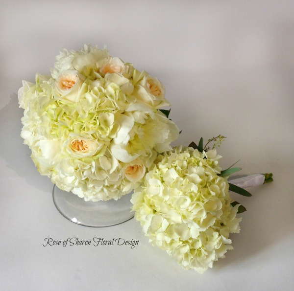 Hand-Tied Bouquets featuring Hydrangea and Roses, Rose of Sharon Floral Designs