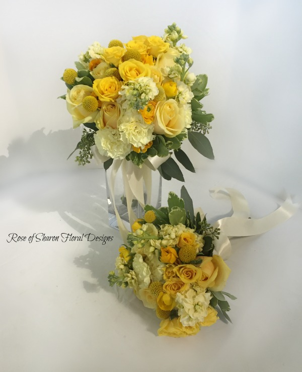 Yellow rose bouquets with stock & billy balls. Rose of Sharon Floral Designs