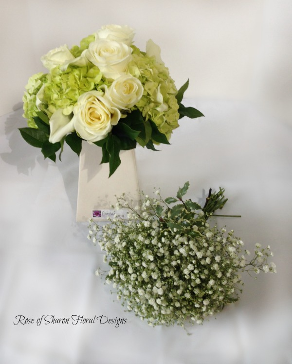 Green Rose & Hydrangea Bridal Bouquet and Baby's Breath Bridesmaid Bouquet. Rose of Sharon Floral Designs