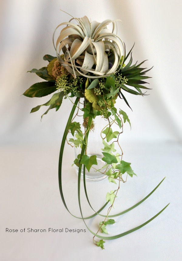 Tillandsia Cascading Bouquet. Rose of Sharon Floral Designs
