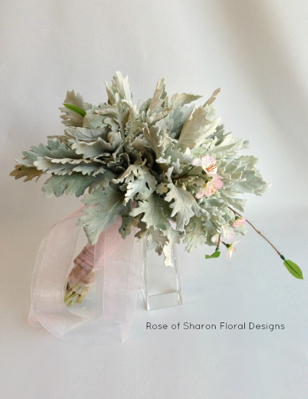 Simple Dusty Miller Bouquet. Rose of Sharon Floral Designs