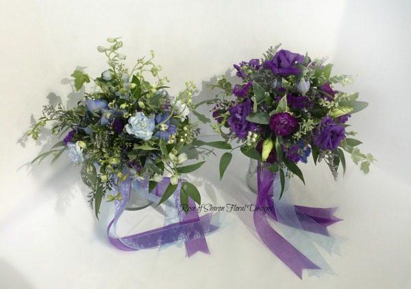 Organic bouquets with purple accents.  Rose of Sharon Floral Designs