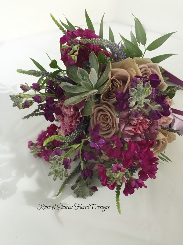 Purple succulent bouquet. Rose of Sharon Floral Designs