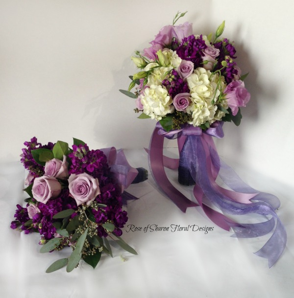 Handtied bouquets for bride & bridesmaid with hydrangeas, roses & stock. Rose of Sharon Floral Designs