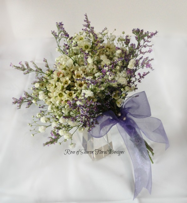 Organic 'filler' bouquet with waxflower, limonium & baby's breath. Rose of Sharon Floral Designs