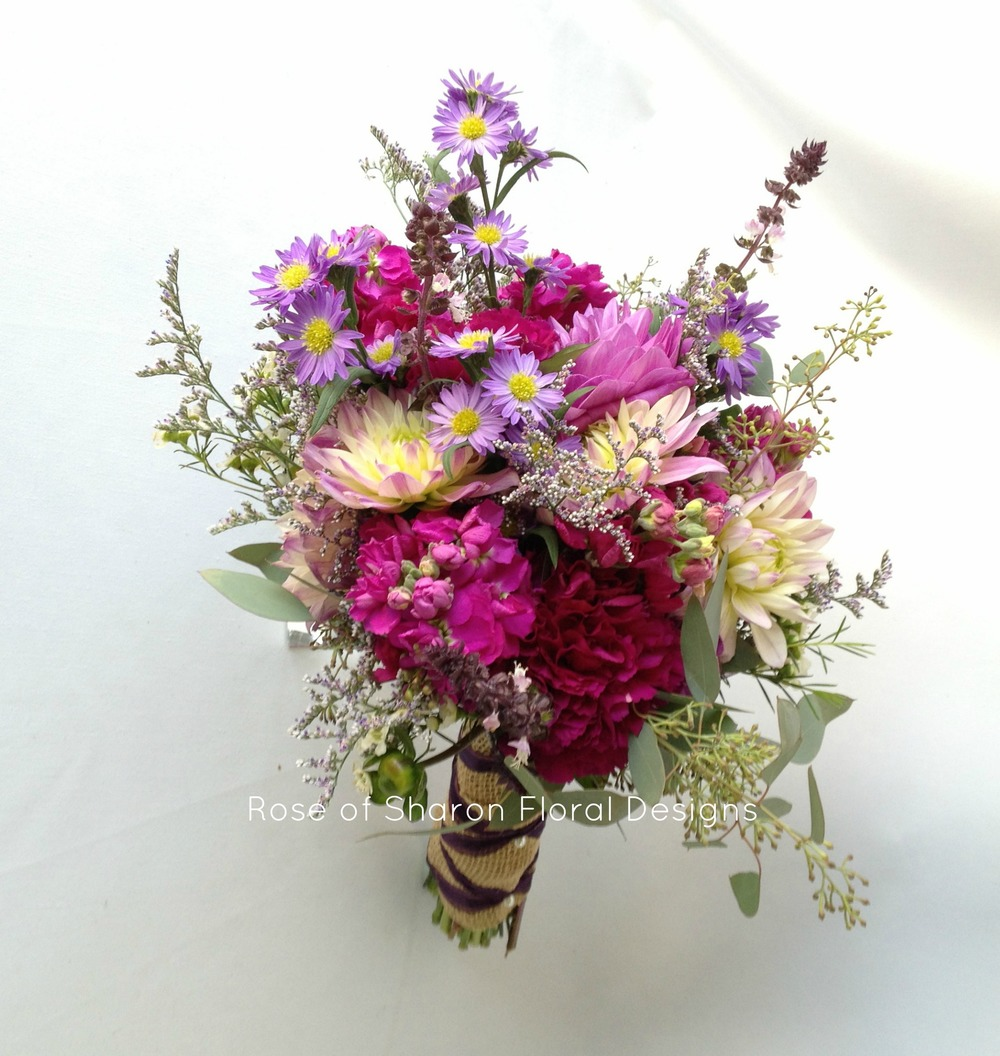 Summer bouquet with purple asters, dahlias & stock. Rose of Sharon Floral Designs