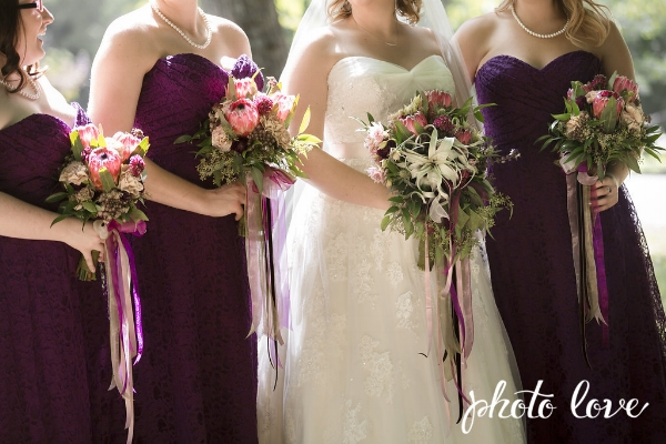 Plum cascading bouquet with protea. Bride & bridesmaids.