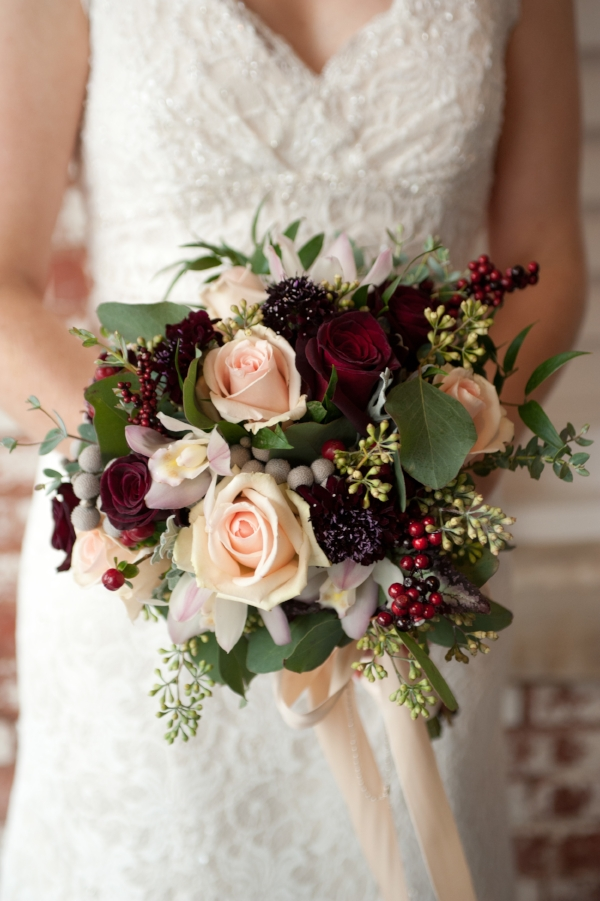 Burgundy & Blush rose bouquet.