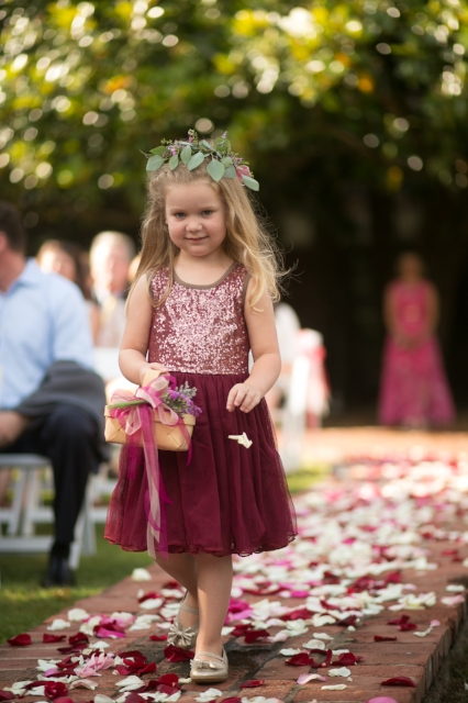 Flower girl with natural basket. Plum/marsala