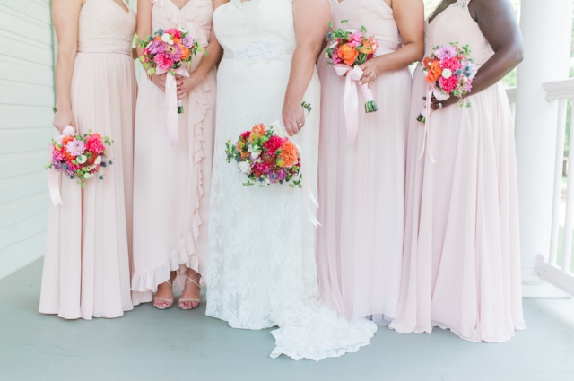 Bright summer bridal party