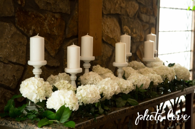 Hydrangea & candles. Altar arrangement
