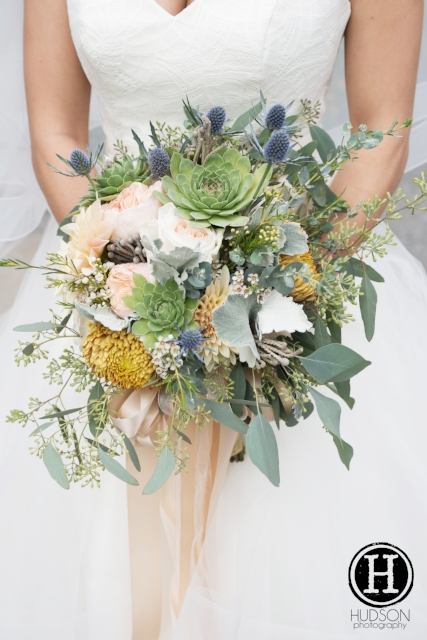 Autumn natural cascading bouquet. Bronze & slate blue.