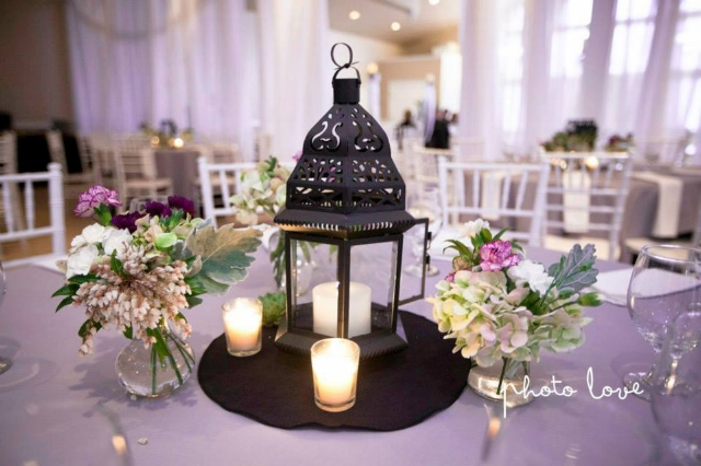 Plum & purple lantern centerpiece