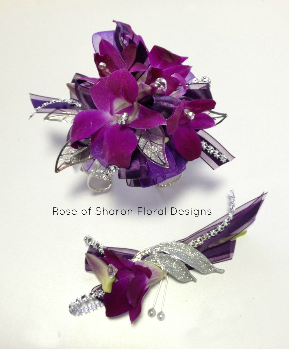 Purple orchid boutonniere & corsage