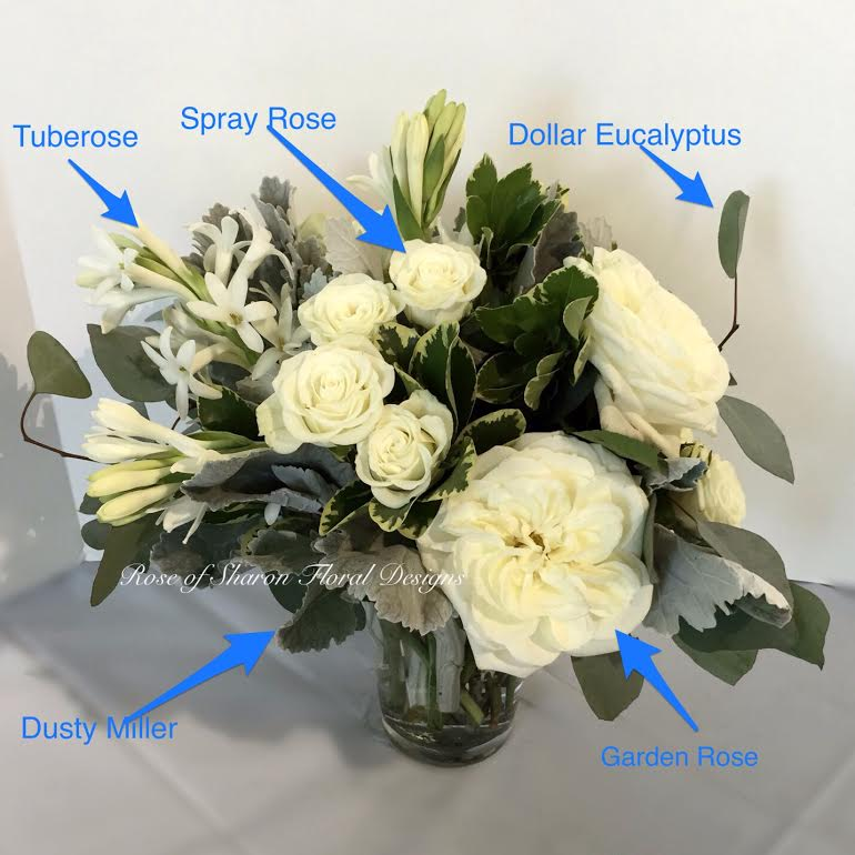White Garden Rose Bouquet