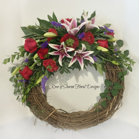 Grapevine wreath, rose & lily  spray