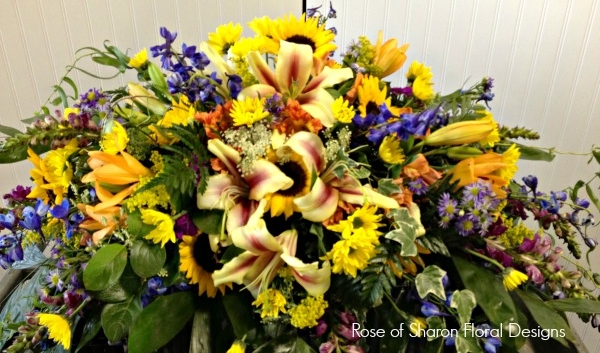 Sunflower Tribute casket spray