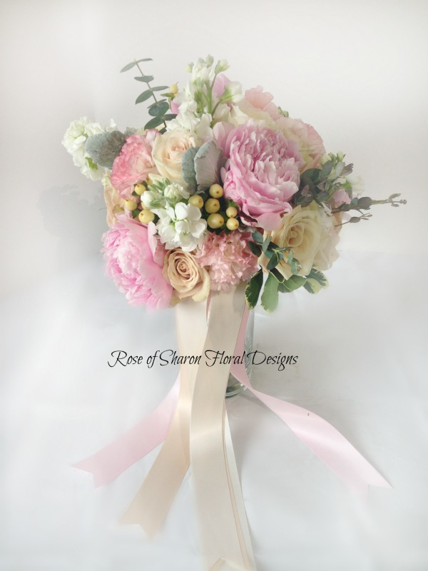 Hand-Tied Bouquet featuring Peonies, Roses, and Carnations, Rose of Sharon Floral Designs