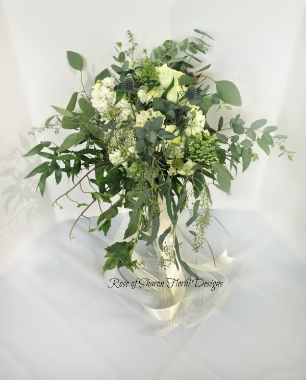 Organic Hand-Tied Bouquet. White Roses, Stock, Eucalyptus & Greenery. Rose of Sharon Floral Designs