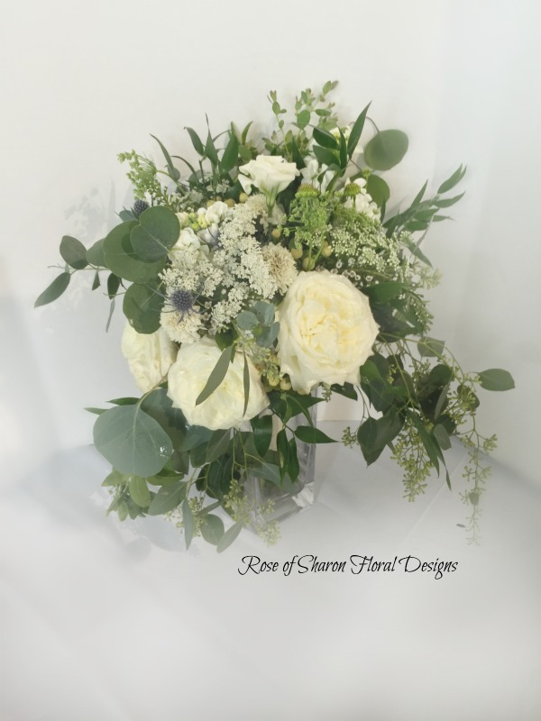 Organic Hand-Tied Bouquet. White Garden Roses, Queen Anne's Lace, Lisianthus, Eucalyptus & Greenery. Rose of Sharon Floral Designs