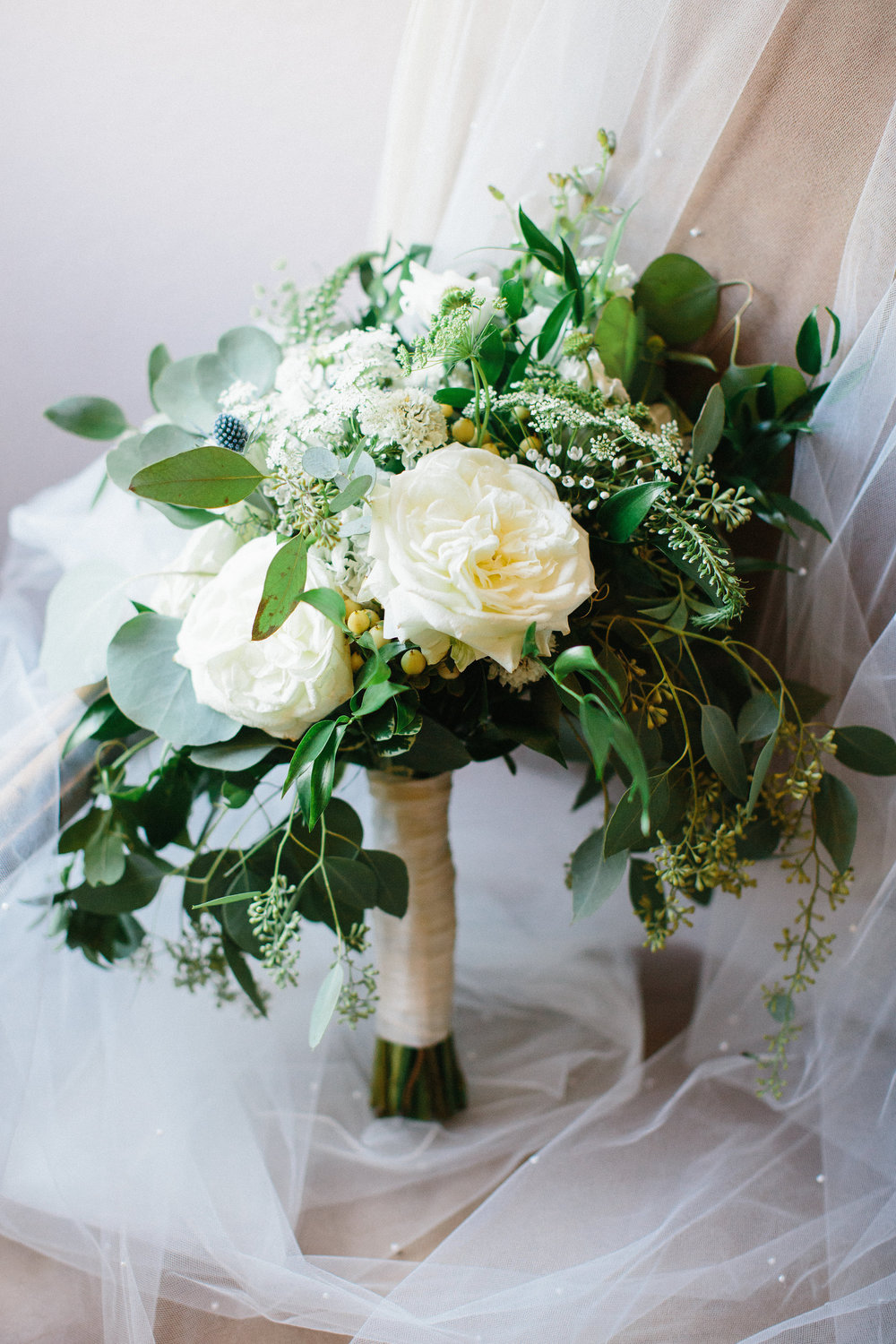 Natural Cascading Bouquet. White Garden Roses, Eucalyptus & Greenery. Rose of Sharon Floral Designs