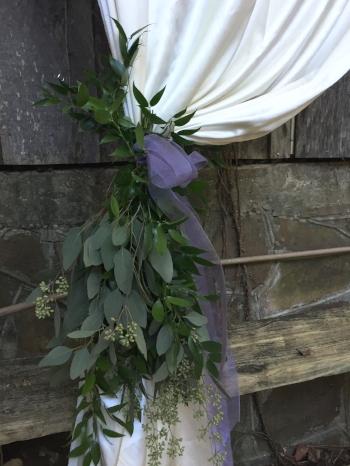 Mixed foliage with sheer ribbon $35