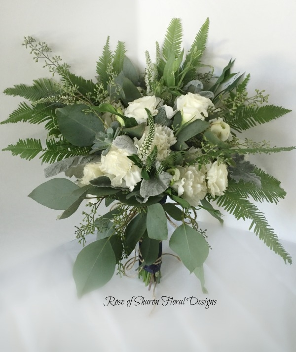 Organic Bouquet with Roses, Carnations, Dusty Miller, Ferns & Eucalyptus. Rose of Sharon Floral Designs
