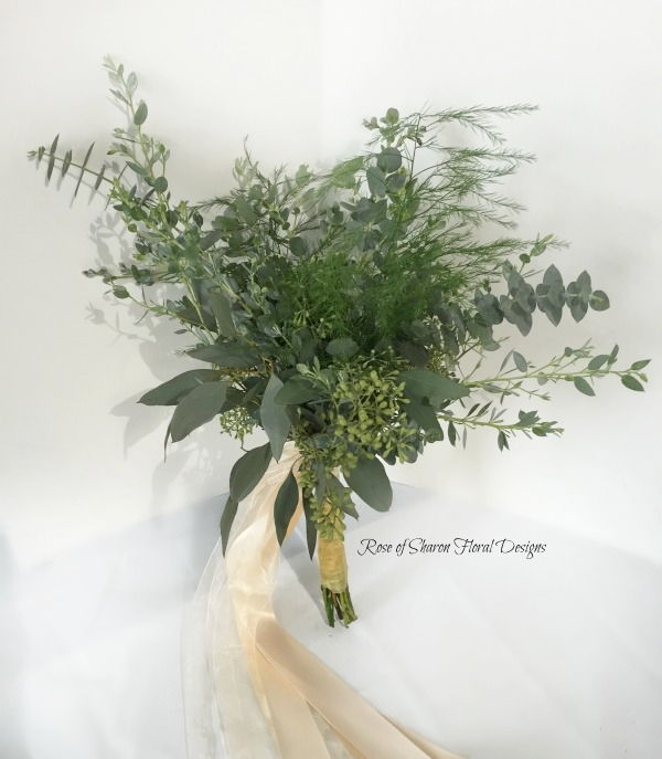 Simple Mixed Foliage Bouquet. Rose of Sharon Floral Designs