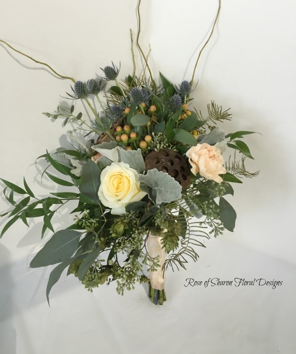 Organic Bouquet with Roses, Eryngium, Mixed Foliages & Lotus Pods. Rose of Sharon Floral Designs