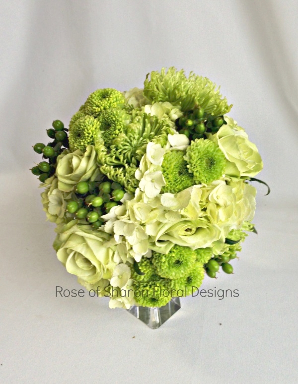 Green Hand-Tied Bouquet with Hydrangeas, Roses, Mums & Hypericum Berries. Rose of Sharon Floral Designs