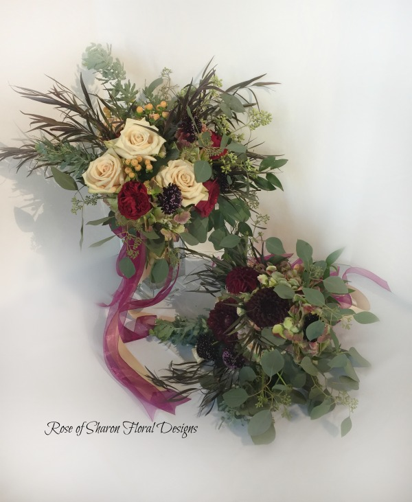Organic blush & burgundy bouquets with roses, scabiosa & eucalyptus. Rose of Sharon Floral Designs