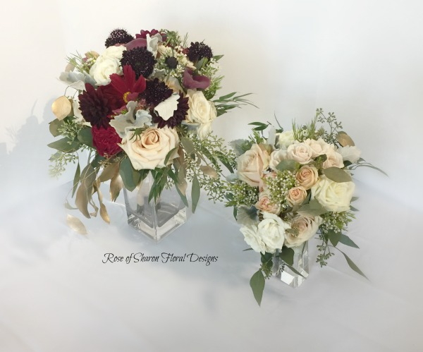 Semi-organic blush & burgundy bouquets with roses, scabisa, & eucalyptus. Rose of Sharon Floral Designs