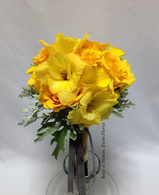 Yellow rose & gladiola bouquet. Rose of Sharon Floral Designs