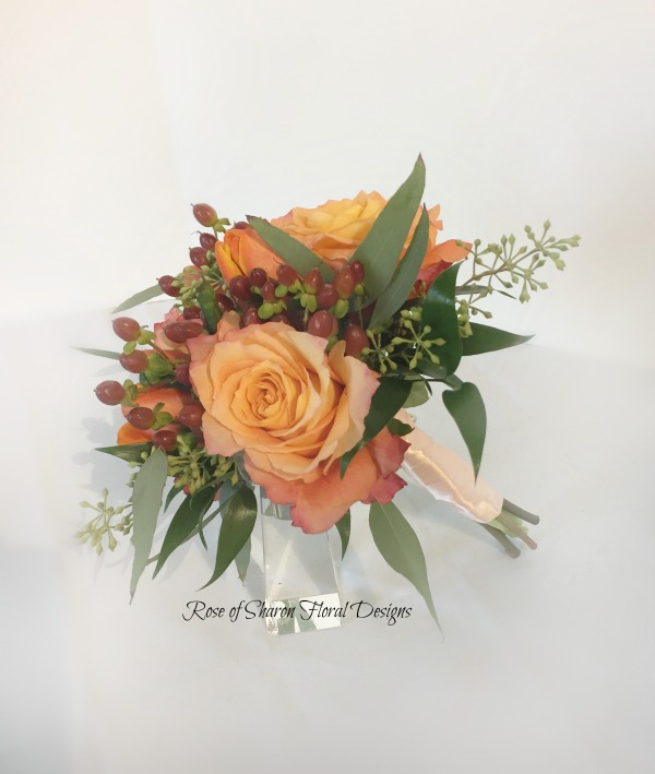 Free Spirit Rose and Hypericum Berry Posy. Rose of Sharon Floral Designs