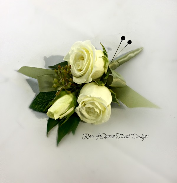 Black & Green Boutonniere - white roses.jpg