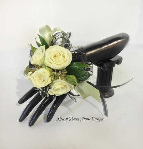 Black & Green Corsage - white roses.jpg