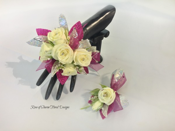 Hot Pink Corsage-boutonniere set - white roses.jpg
