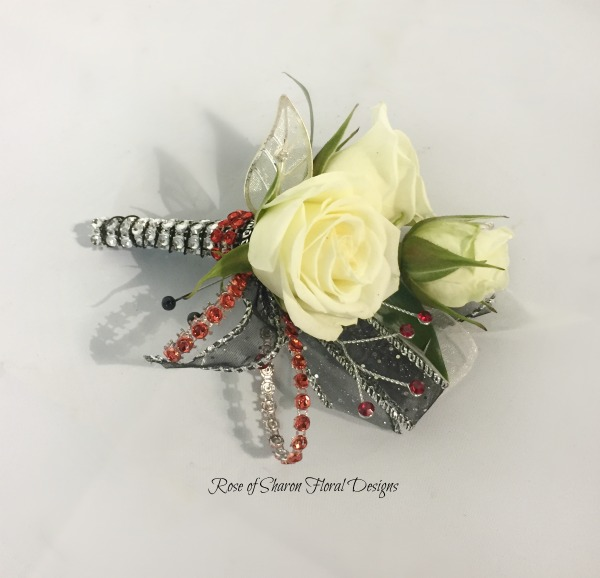 Red & Black Boutonniere - White roses.jpg