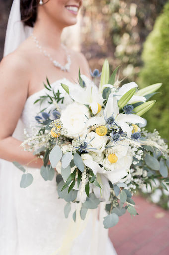 02 Eucalyptus garden rose & lily bouquet White yellow & blue Mallory Berry Photography Rose of Sharon Floral Designs Stone Chapel at Matt Lane Farms.jpg