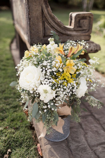 05 Eucalyptus garden rose & lily arrangement Galvanized container White yellow & blue Mallory Berry Photography Rose of Sharon Floral Designs Stone Chapel at Matt Lane Farms.jpg