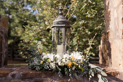 06 Eucalyptus garden rose & lily lantern arrangement White yellow & blue Mallory Berry Photography Rose of Sharon Floral Designs Stone Chapel at Matt Lane Farms.jpg