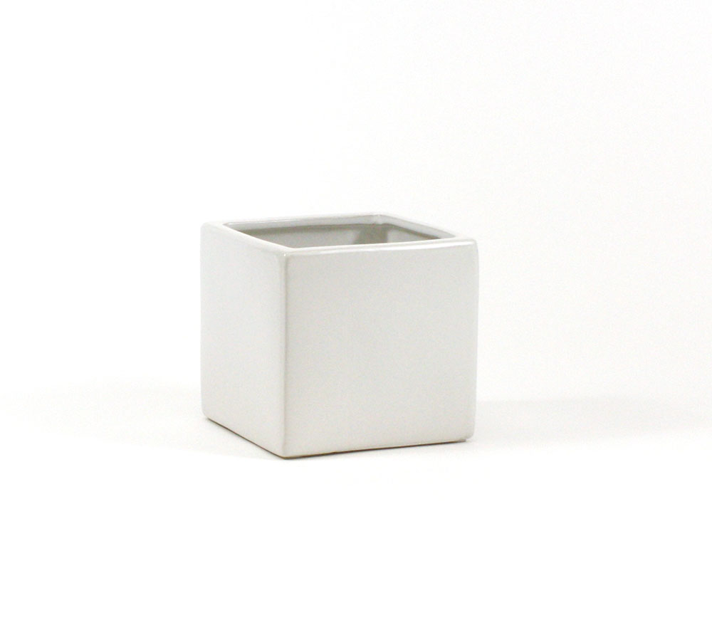 """4""""x4"""" white ceramic cube"""