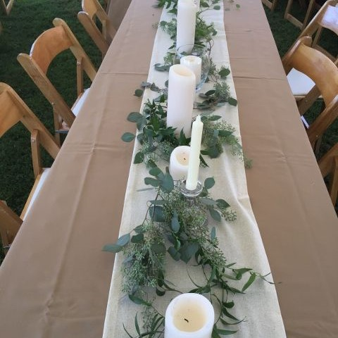 Eucalyptus & ruscus garland with candles