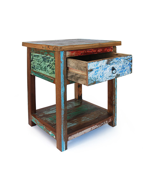 recycled boat wood bedside table
