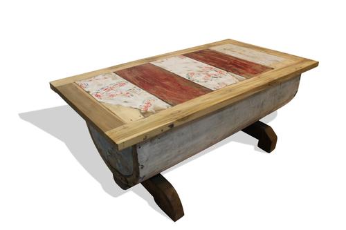 reclaimed canoe coffee table — teak board - buy individually